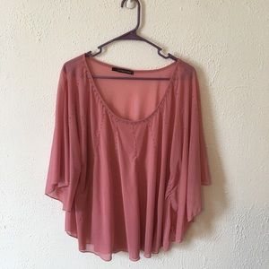 Maurice blush sheer butterfly sleeve blouse size 1